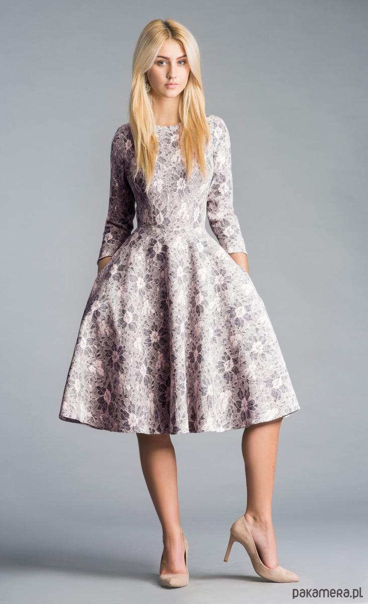 Suknia wieczorowa z jedwabiu, ręcznie zdobiona - sukienki