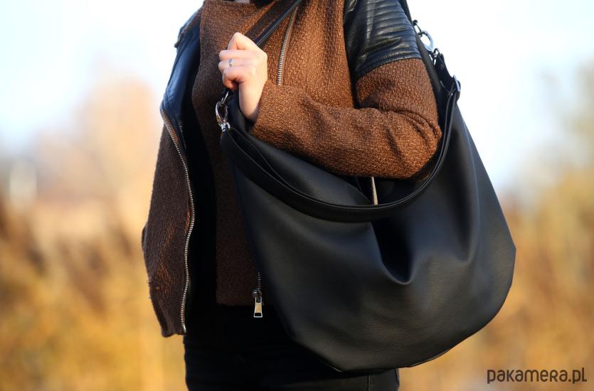 421efb1281a4c Czarna torba worek ze skóry ekologicznej Czarna torba worek ze skóry  ekologicznej ...