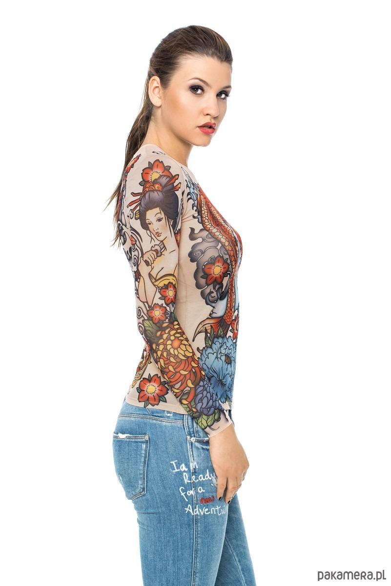 Bluzka Z Tatuażem Japan Style Bluzki T Shirty Damskie