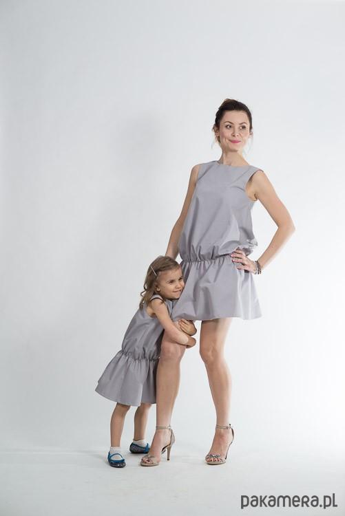 6264a18845e6 Zestaw 2 szarych sukienek dla mamy i córki - sukienki - różne ...