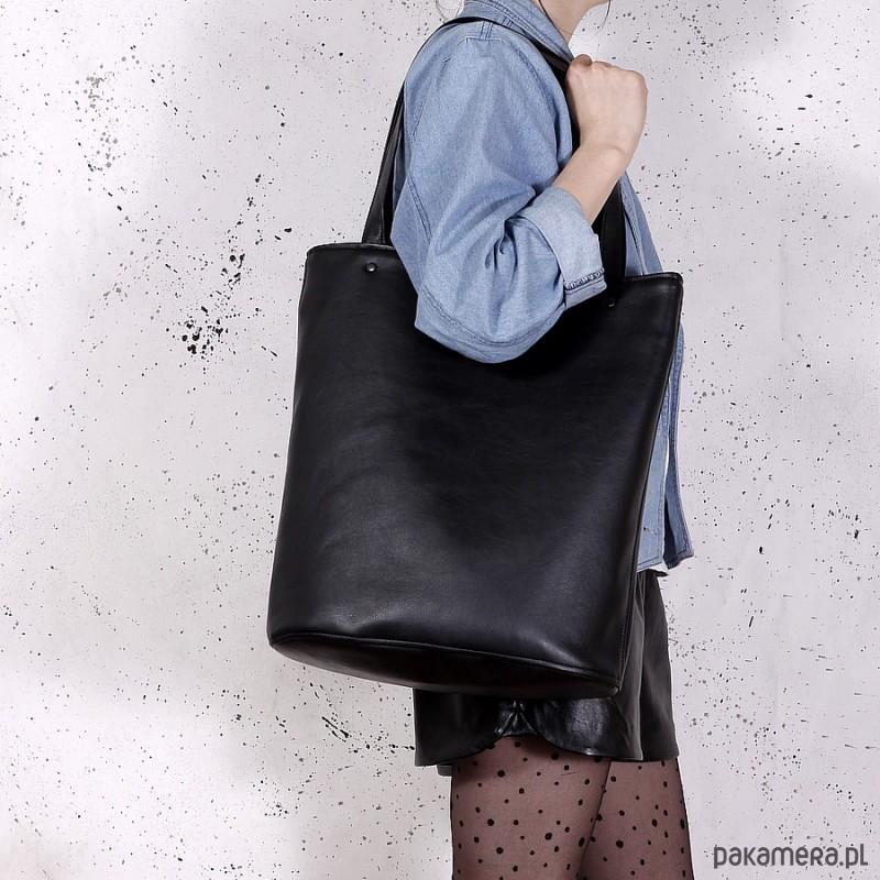 21e81a93f2445 Shopper XL torba czarna na zamek - torby na ramię - damskie ...