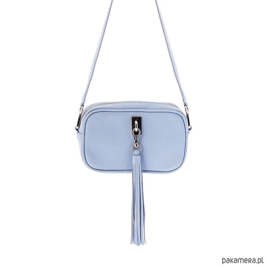fc3bfab733192 Torebka skórzana błękitna mini listonoszka - torby na ramię ...