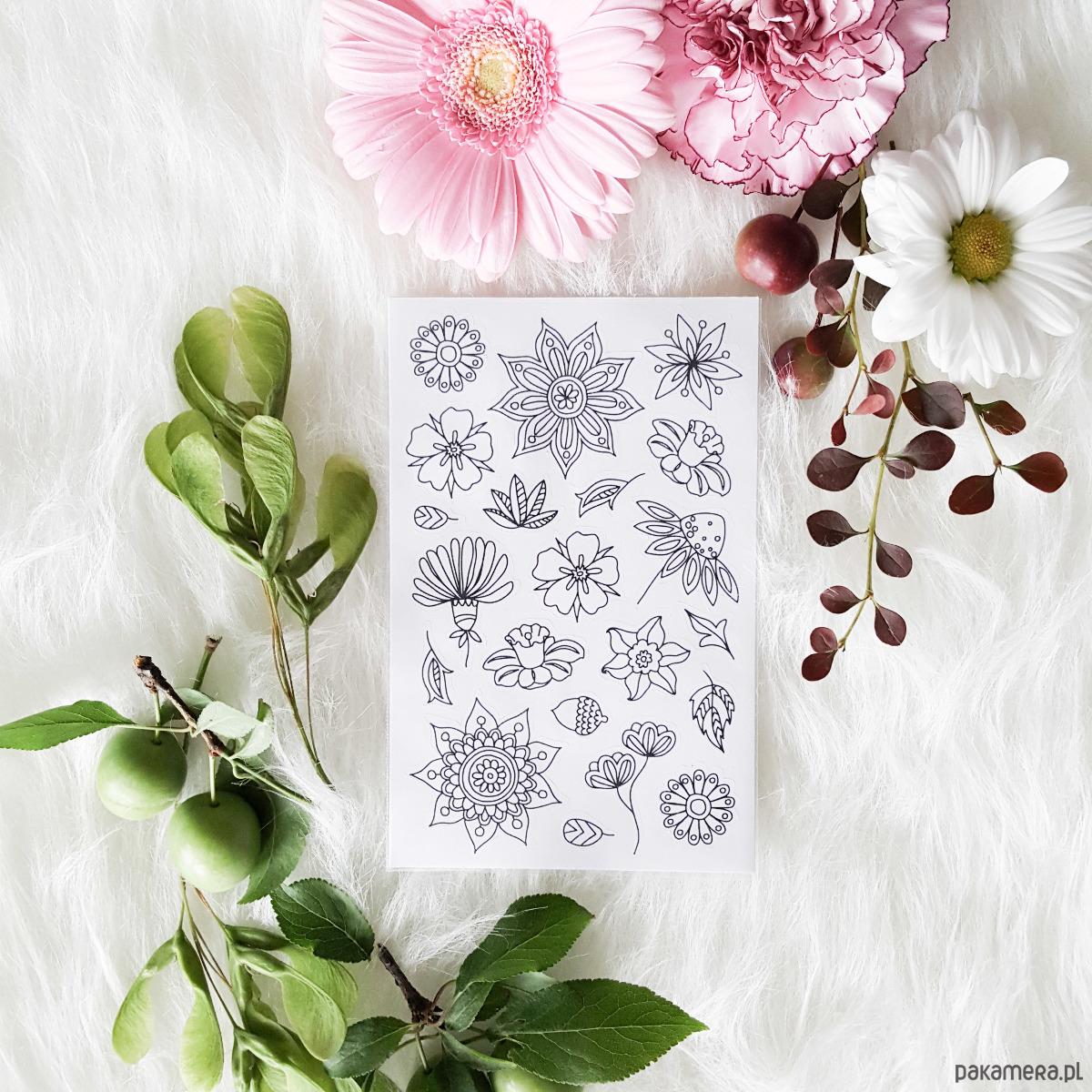 Kwiaty Kwiatki Naklejki Do Kolorowania Zabawki Naklejki