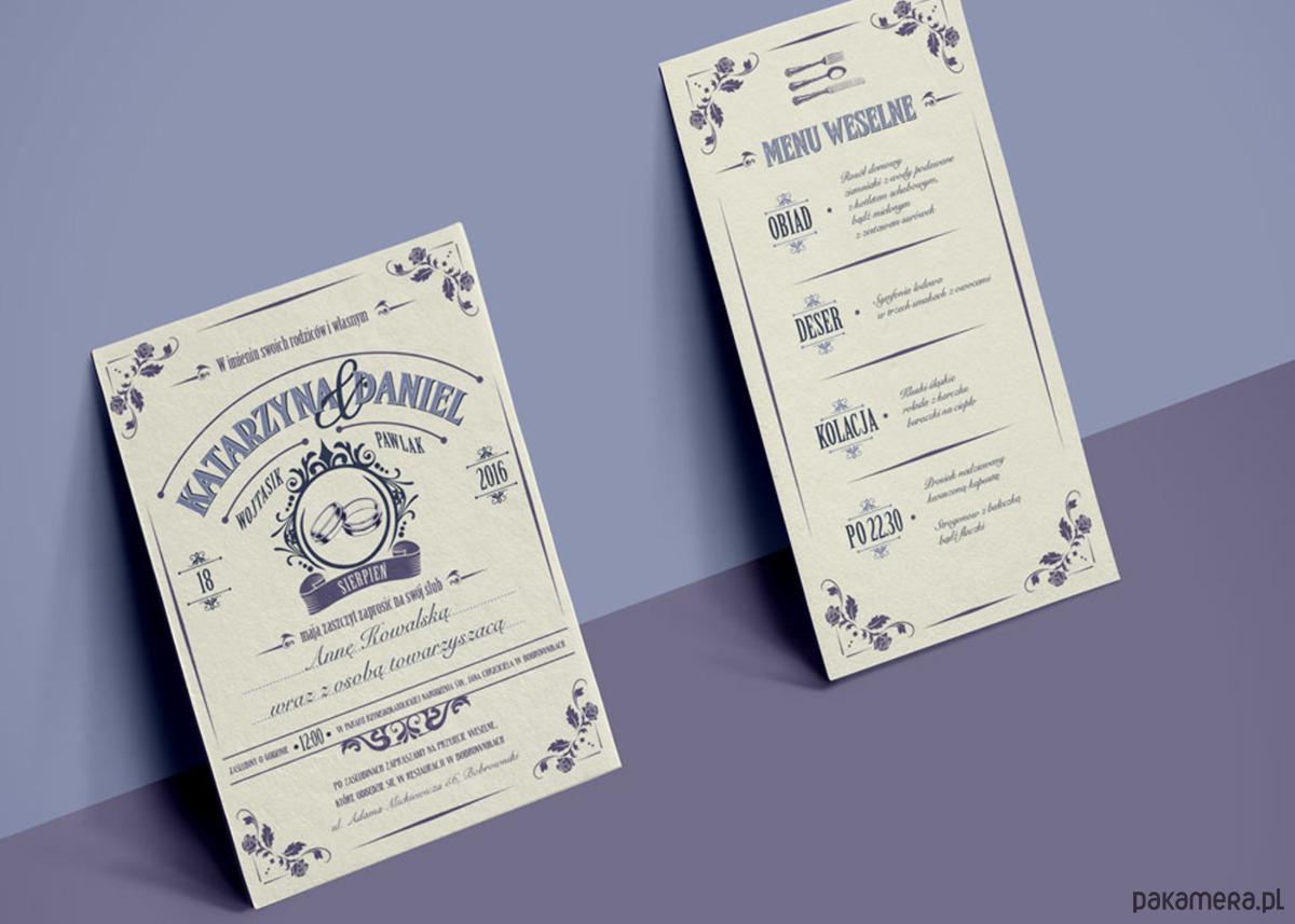 Komplet Zaproszenie ślubne Stylowe Eleganckie ślub