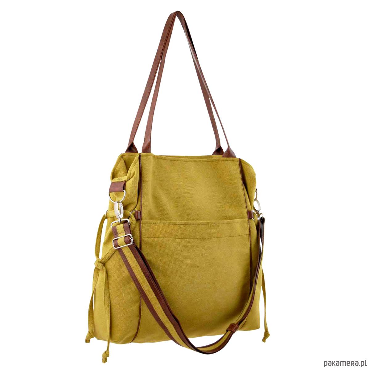 3bf9d5924f3b0 AMBER - duża torba - shopper - musztarda i brąz - torby na ramię ...