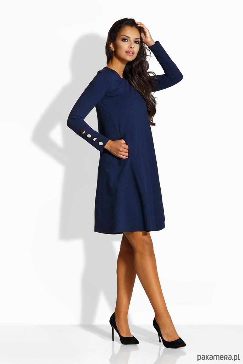 392c385b7e L217 Elegancka rozkloszowana sukienka -granatowy - sukienki - midi ...