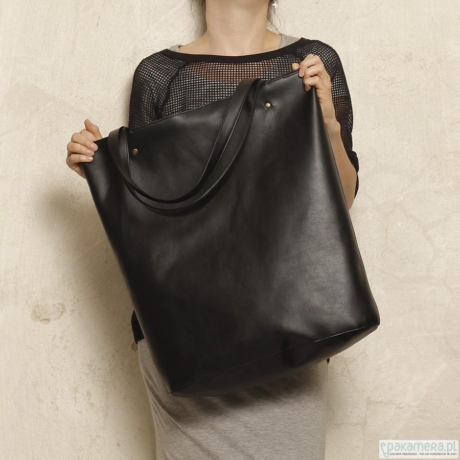 Mega Shopper bag czarny na zamek duża torba
