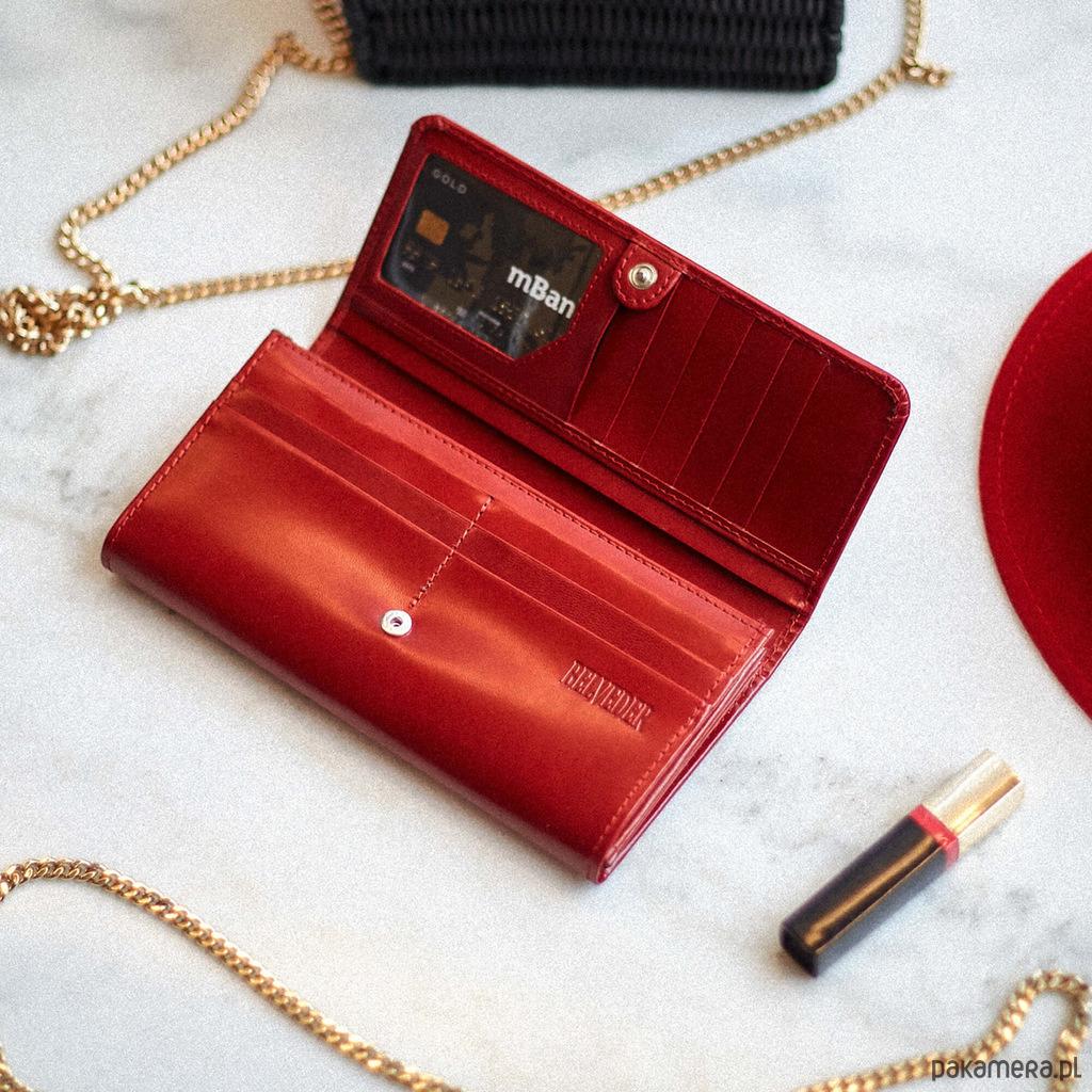 15bddf5301dd8 Czerwony portfel damski skórzany duży Belveder - portfele - damskie ...