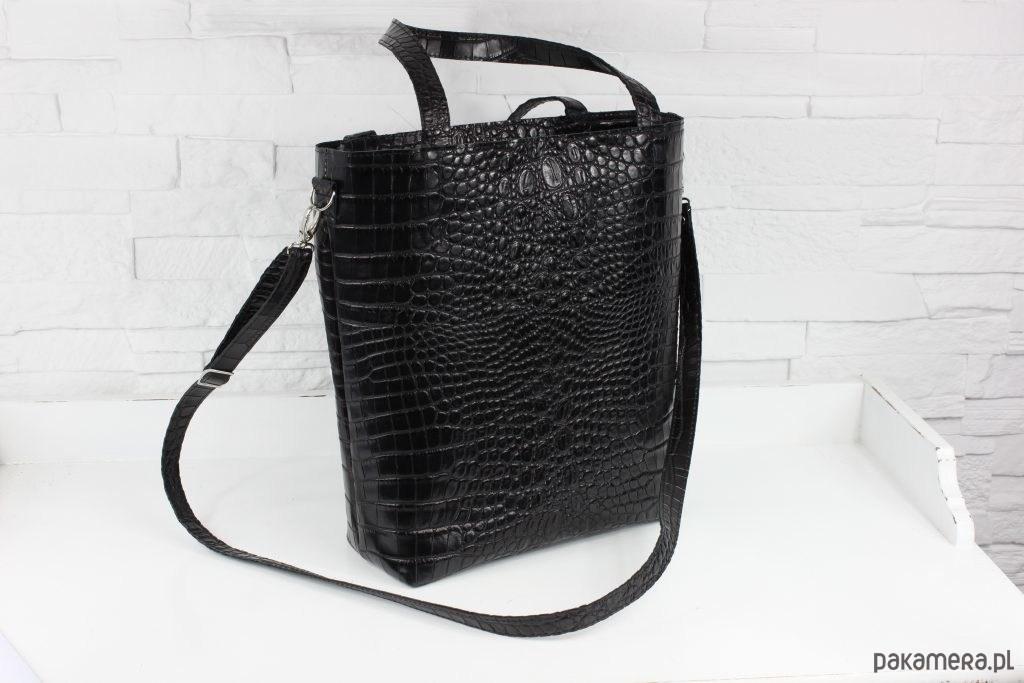 a6db91370b07c Skórzany Shopper Verona czarny krokodyl - torby na ramię - damskie ...