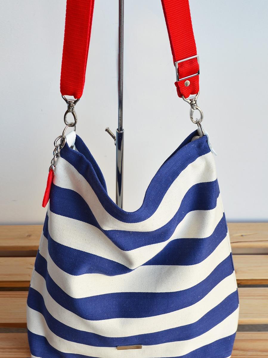 df31b6df2b503 Marynarski worek w pasy z blaszką  torba plażowa - torby na ramię ...
