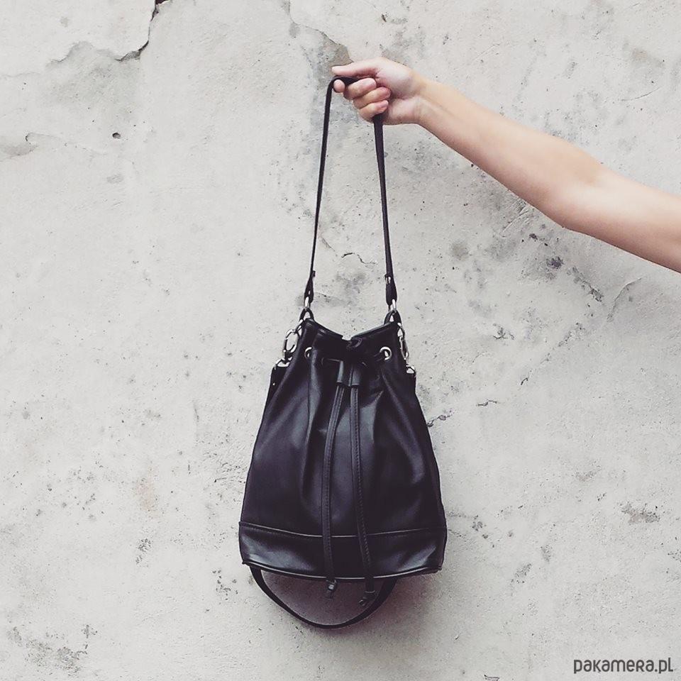 f96da8ee30613 torebka worek STINE BLACK skórzana - torby na ramię - damskie ...