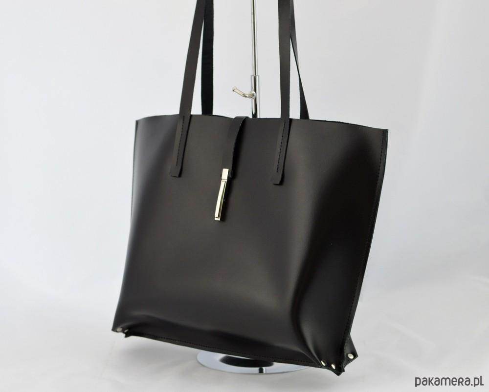 5ea06b17502bc Duża Czarna Skórzana - Minimalistyczna z Klamrą - torby na ramię ...