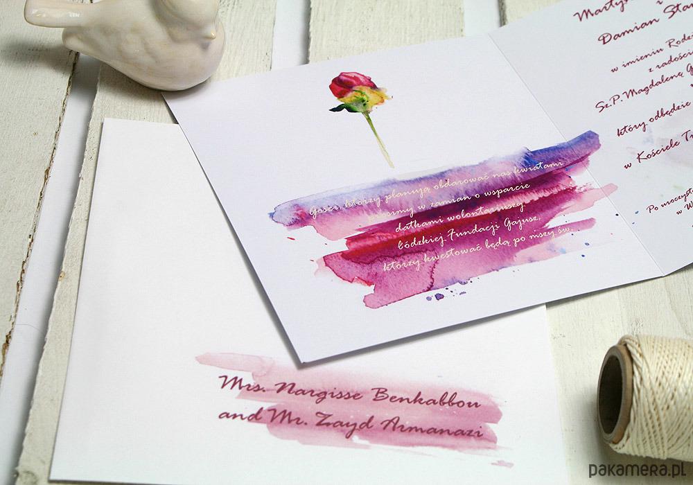 Projekt Zaproszenia Zaproszenia Akwarelowe ślub Zaproszenia