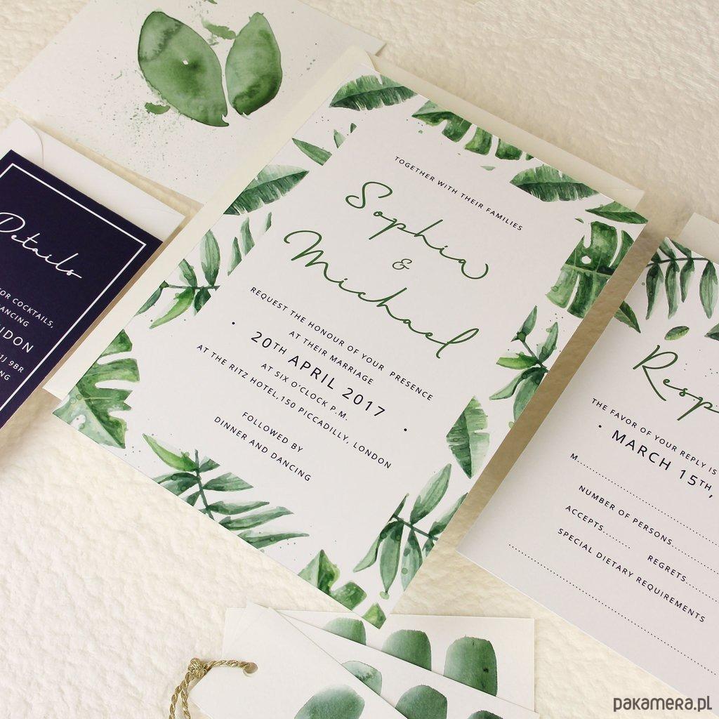 Zaproszenie Tropical Forest ślub Zaproszenia Kartki Pakamerapl