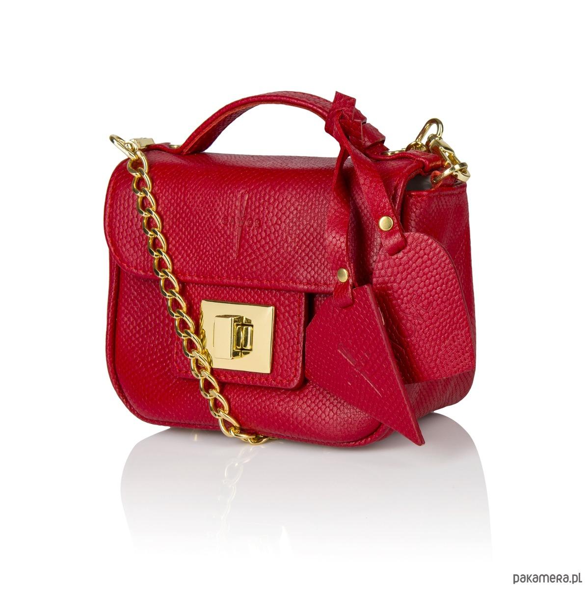 41aaabf8664e6 Skórzana torebka kuferek czerwona złote dodatki - torebki mini ...
