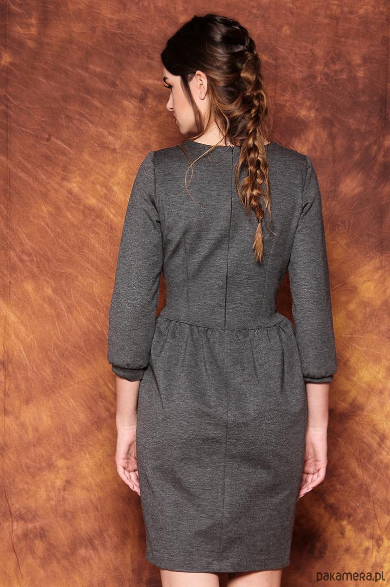 5fe872955d Szara sukienka z bufkami - sukienki - midi - Pakamera.pl