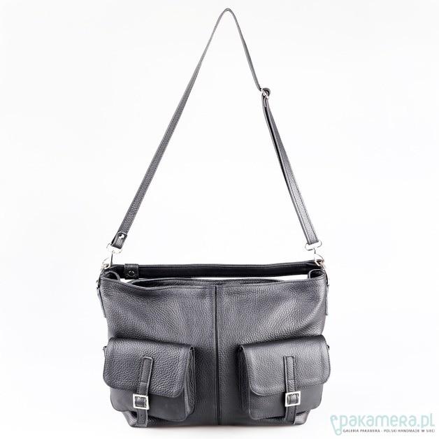 f2732b82f110 Skórzana torba z kieszeniami - torby na ramię - damskie - Pakamera.pl