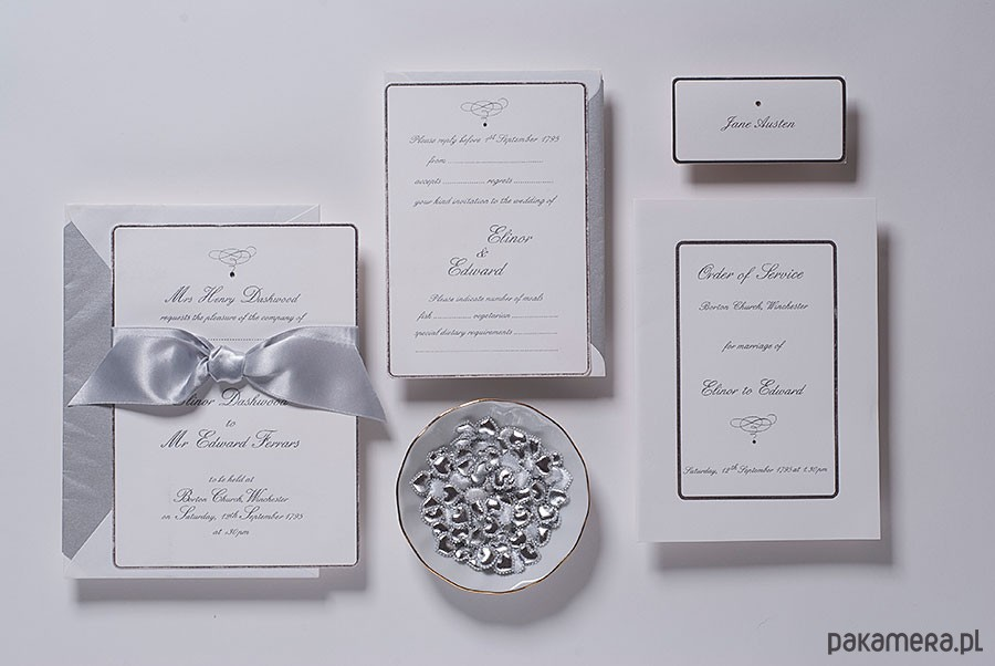 Zaproszenia ślubne Eleganckie Srebrne ślub Zaproszenia Kartki