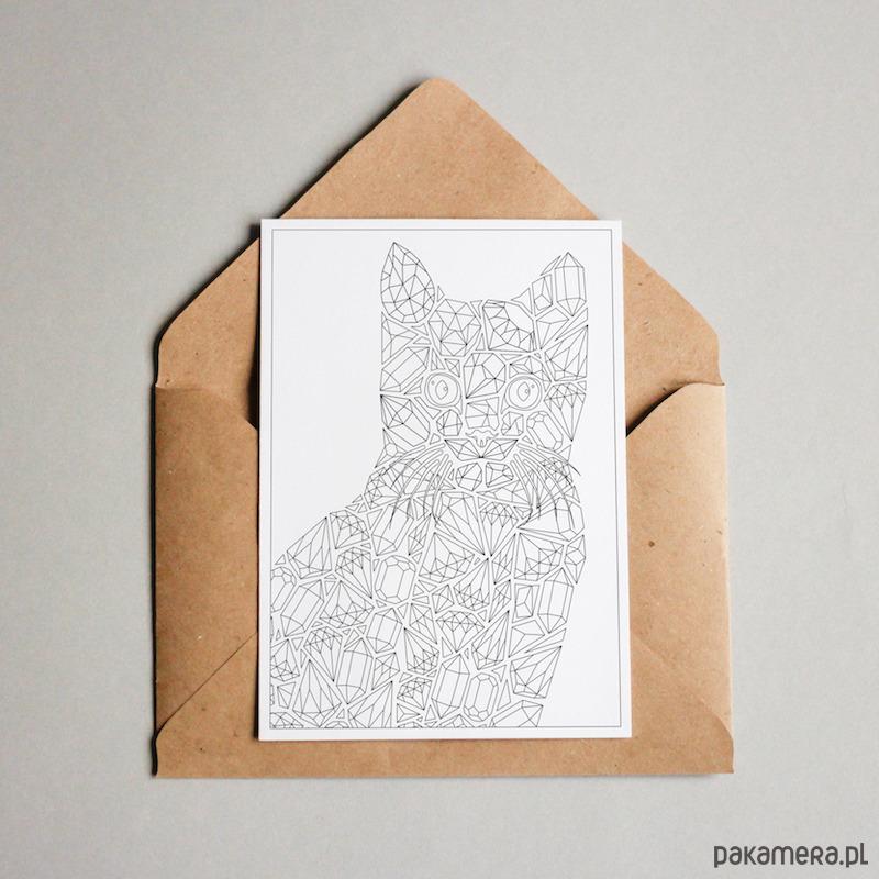 Kot Diamenty Pocztówka Do Kolorowania Kartki Okolicznościowe
