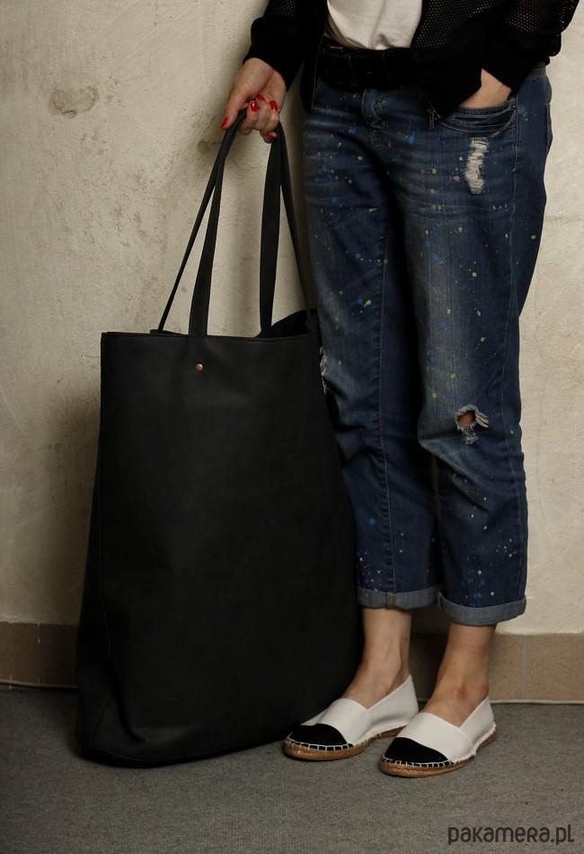 44bfc1069ac51 Mega Shopper bag grafit na zamek / duża torba - torby XXL - damskie ...