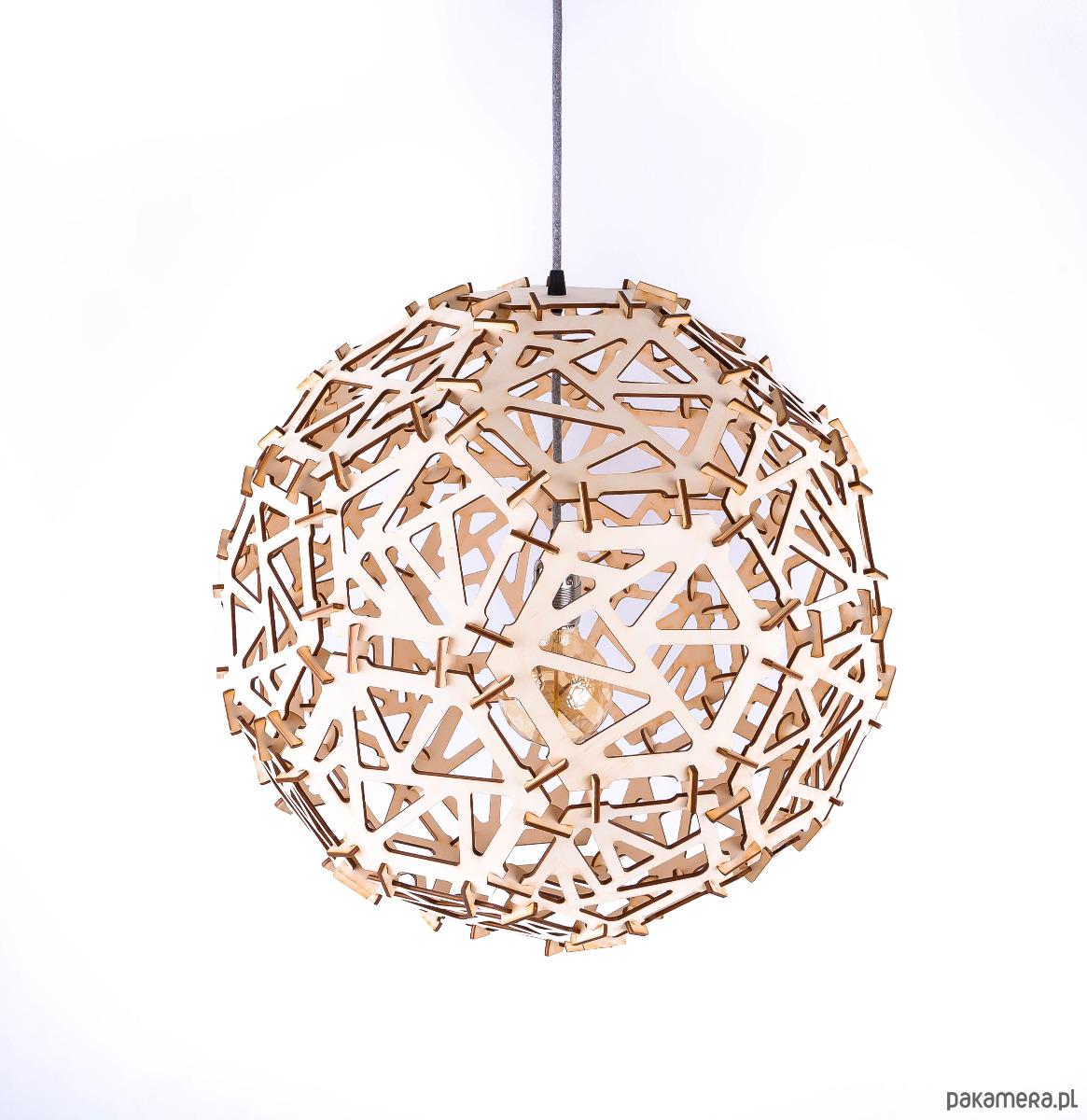 2527c2381a60 KULA wisząca sufitowa drewniana LAMPA do salonu - lampy - wiszące ...