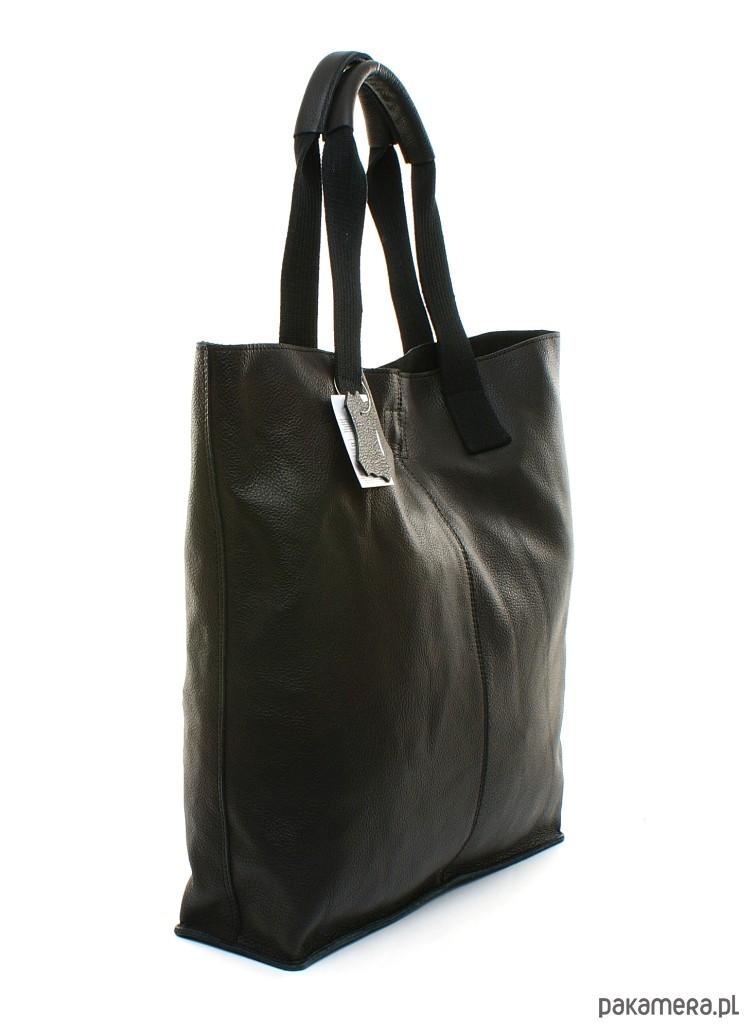 fe57671200338 Torba skórzana shopper czarna - torby na ramię - damskie - Pakamera.pl
