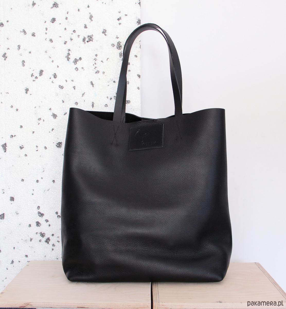 5f573b9ec0ae2 Torba ze skóry Sugar Shopper czarna z nitami - torby na ramię ...