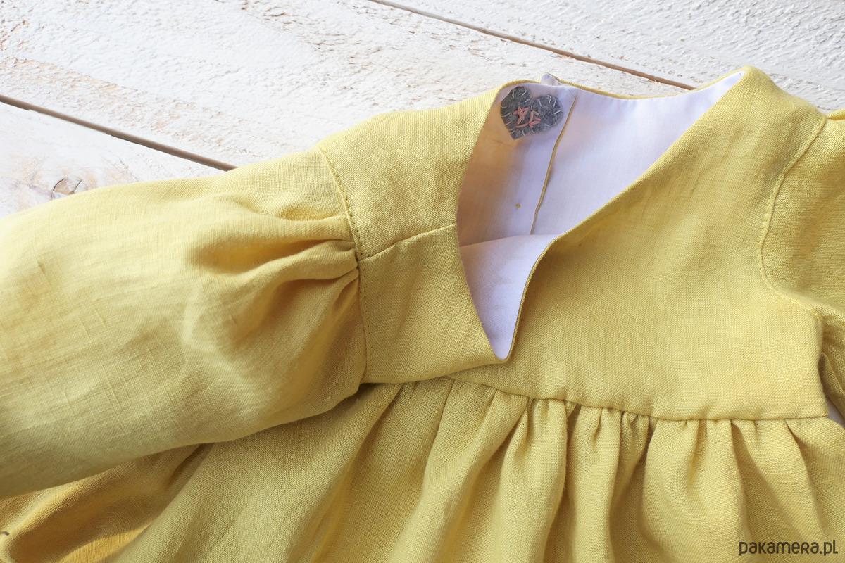c9fe18fcf9 Żółta Sukienka Lniana z rękawami - dziewczynka - sukienki - Pakamera.pl