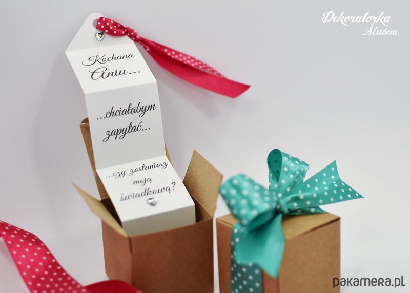 Poważnie Zaproszenie dla świadka w pudeleczku - Ślub - zaproszenia, kartki KH03