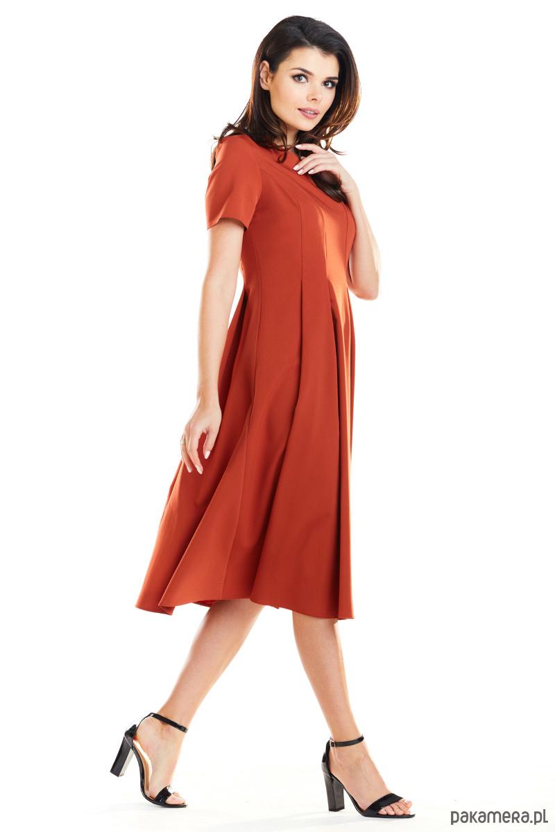 e5d871aa35 Rozkloszowana sukienka w żółtym kolorze B253 - sukienki - midi ...