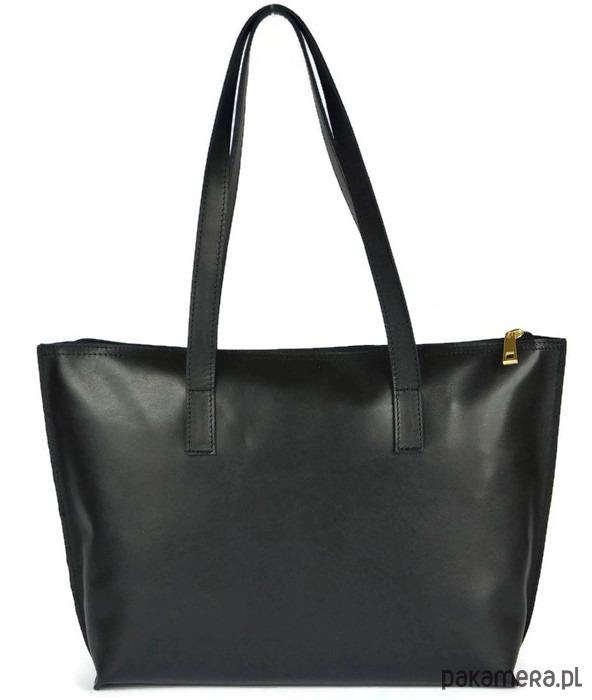 c15871dcd3dbb Czarna skórzana shopperka SHE - torby na ramię - damskie - Pakamera.pl