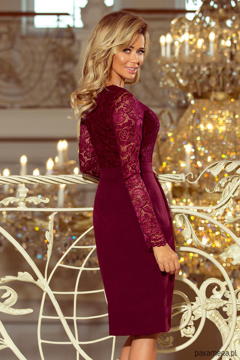 6b5d0dcc4c 216-3 EMMA elegancka ołówkowa sukienka bordowa - sukienki - midi ...