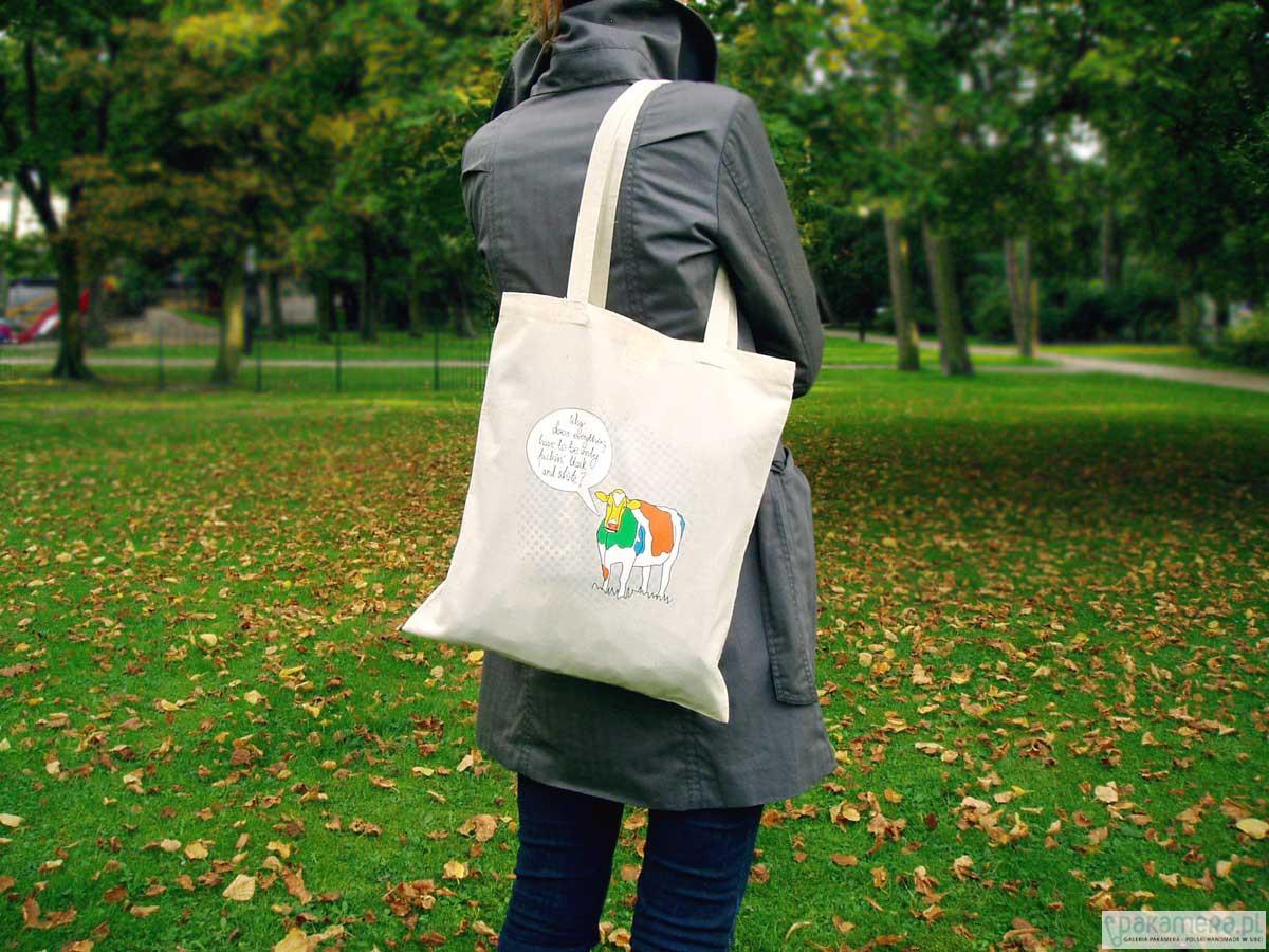 ba28538d1c213 Eko torba na ramię TALKING COW - kolor naturalny - torby na zakupy ...