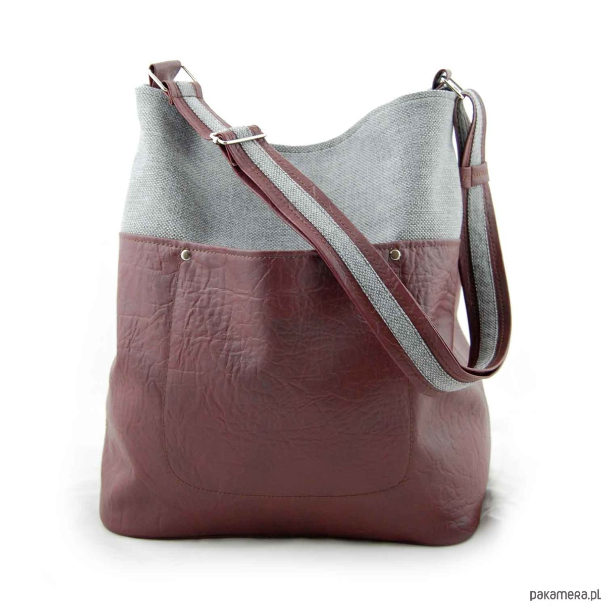 a405ad2192168 FRIDA - torba worek - burgund i szara plecionka - torby na ramię ...