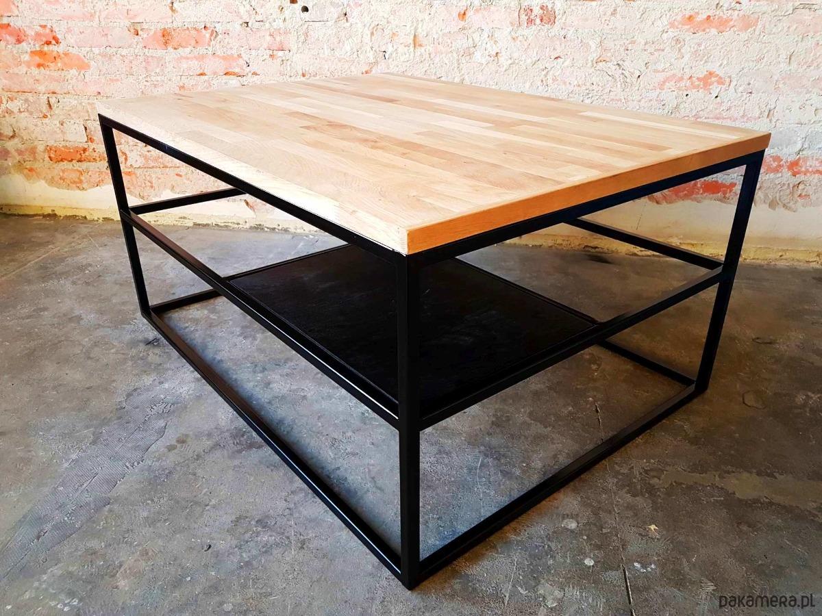 Bardzo dobry Metalowy Stolik Kawowy Loft z Dębowym Blatem - meble - stoły i XK49