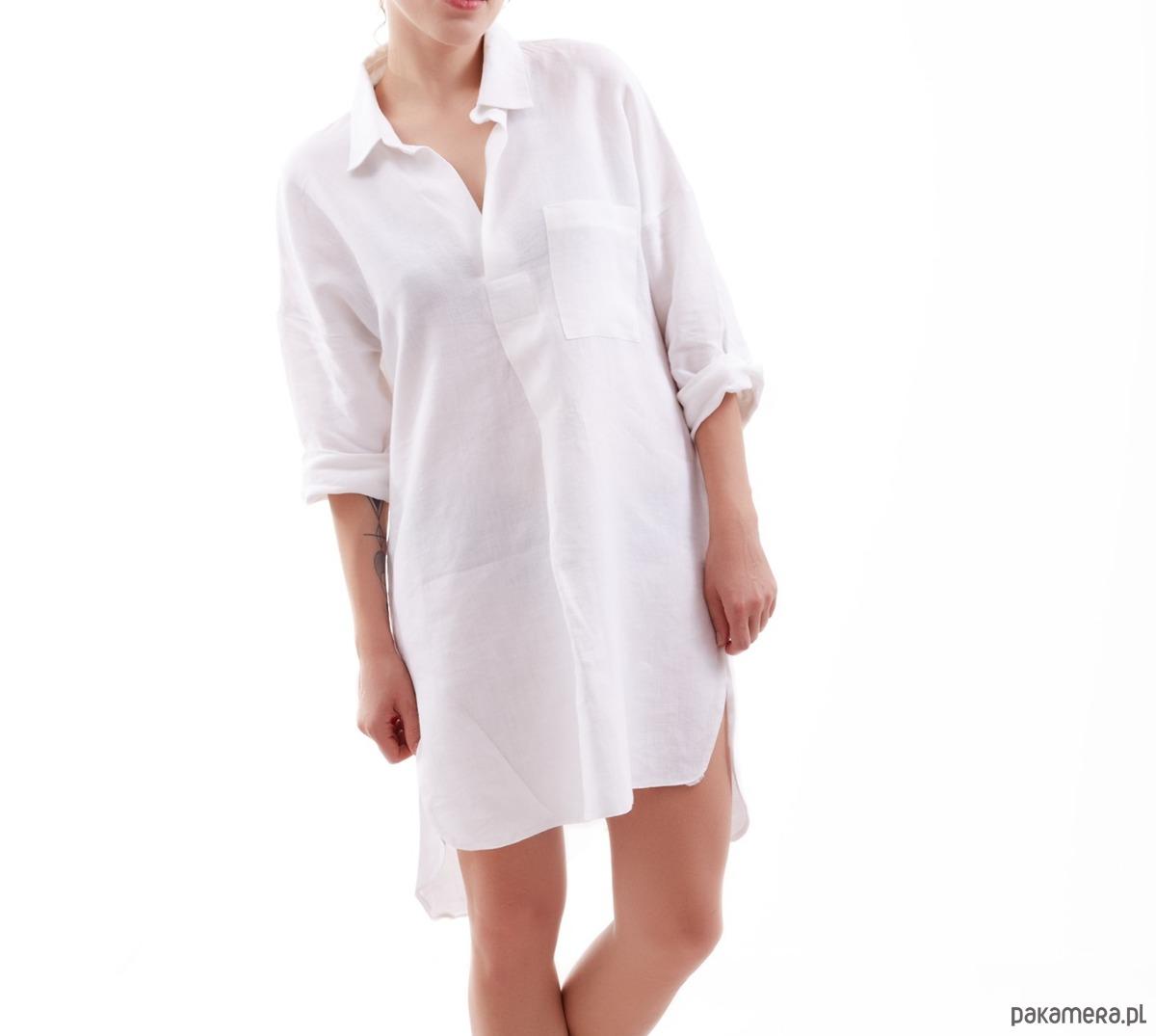 71401e5366 Eco Lniana Koszula Biała - bluzki - t-shirty - damskie - Pakamera.pl