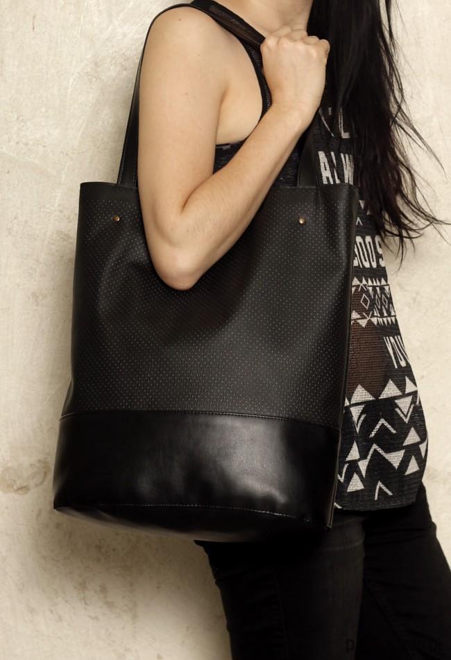 f27fb42bb6033 Shopper bag XL czarna   pojemna torba na codzień - torby na ramię ...