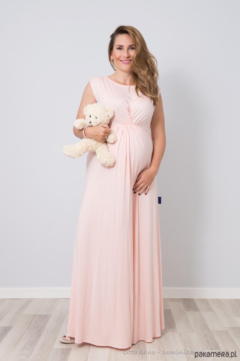 Długa Suknia Bogini Ciążowa Pudrowy Róż Sukienki Maxi Pakamerapl