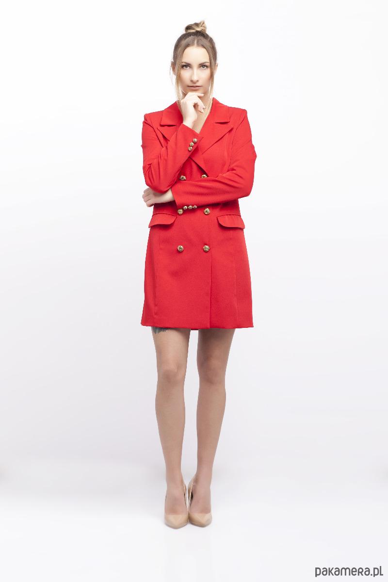 0e66c92e6e Czerwona sukienka o kroju marynarki - sukienki - mini - Pakamera.pl