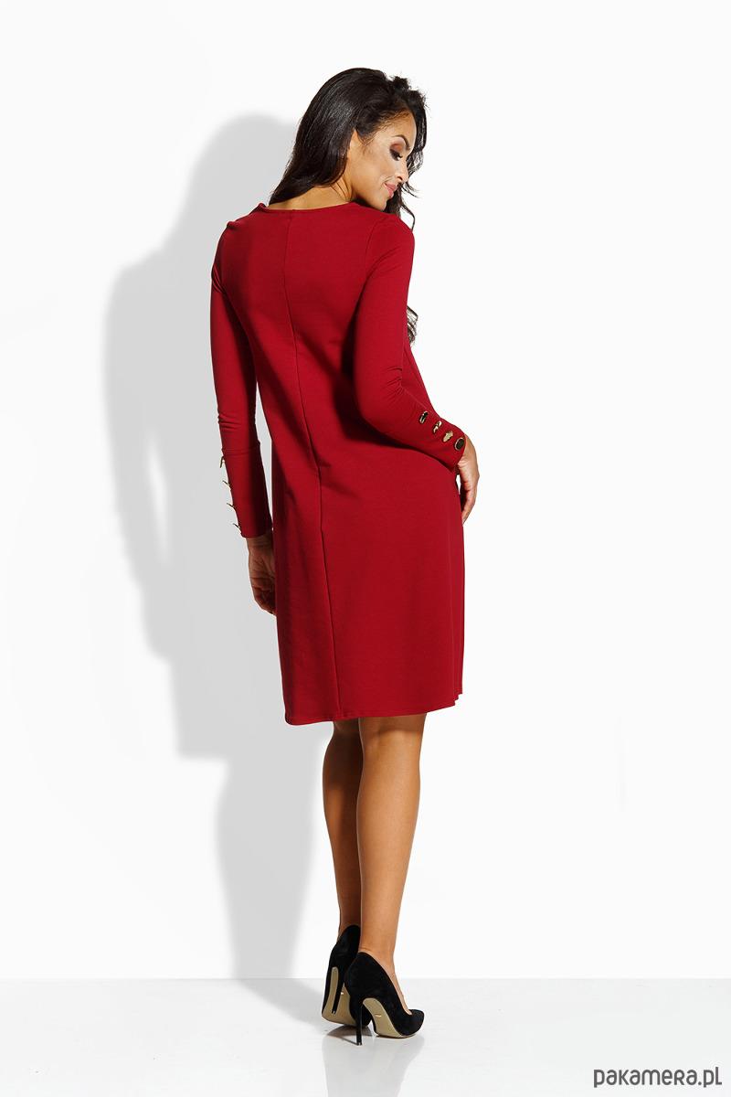 d04dfd9f61 L217 Elegancka rozkloszowana sukienka - bordo L217 Elegancka rozkloszowana  sukienka - bordo
