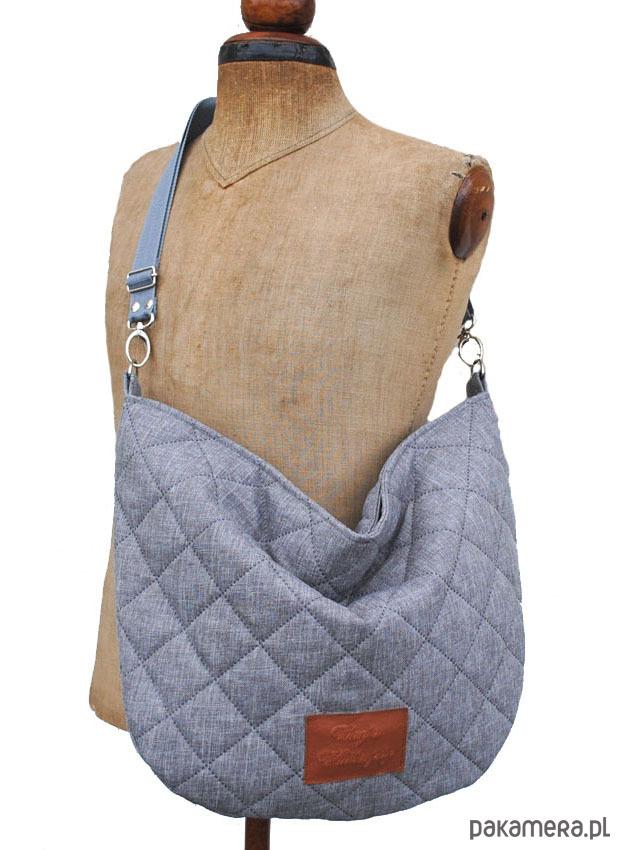 415124369a42d Pikowana popielata torba worek - torby na ramię - damskie - Pakamera.pl