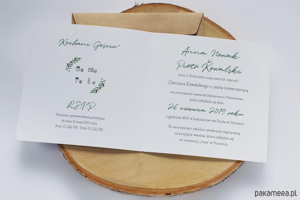 Zaproszenie ślubne Geometric Greenery ślub Zaproszenia Kartki