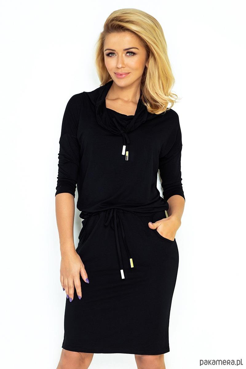 8d3021189eab65 ... Moda - sukienki - mini-44-10 Sukienka sportowa z golfem - czarny. 1