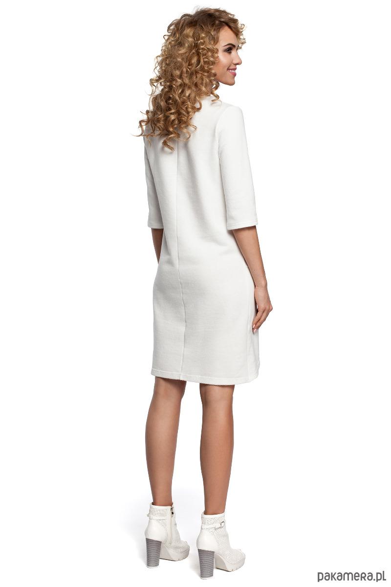 f0e6eebba3 Dzianinowa sukienka z zakładką na dole - ecru - sukienki - midi ...