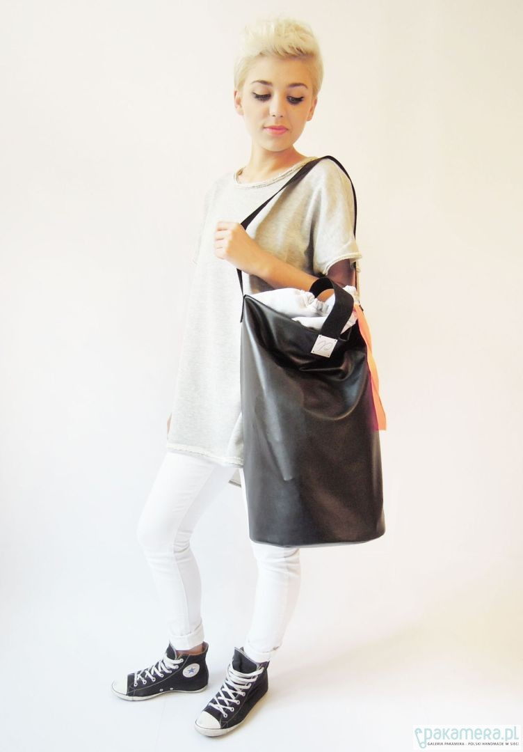 7157cf89c59b7 czarna torba - worek oversize - torby XXL - unisex - Pakamera.pl