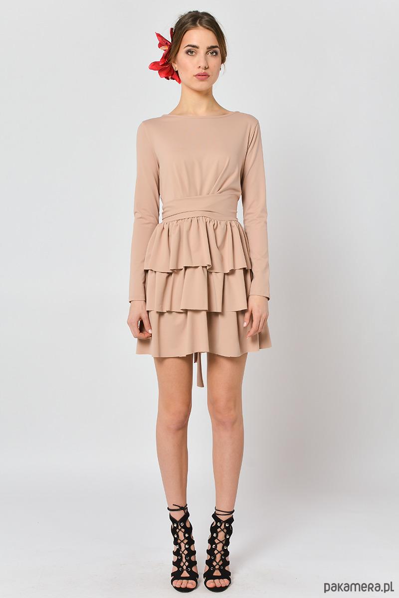 bb5084b537 Cristina Botanika - beżowa sukienka z falbanami - sukienki - midi ...