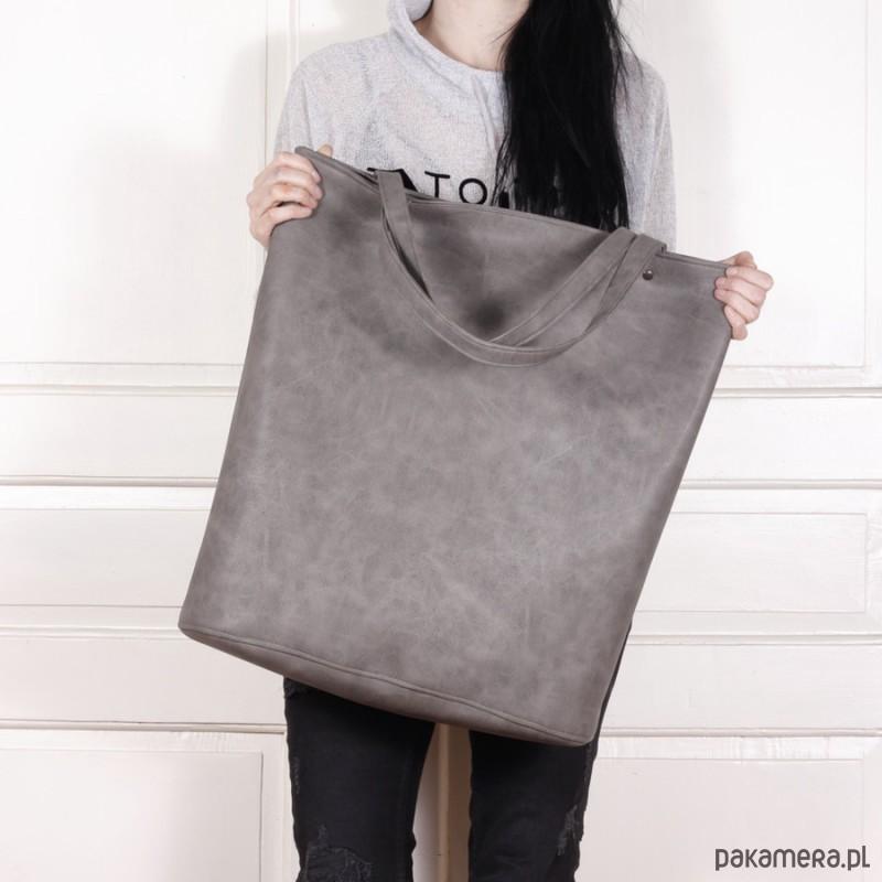 5ba07ad153d82 Mega shopper torba szara na zamek - torby XXL - damskie - Pakamera.pl