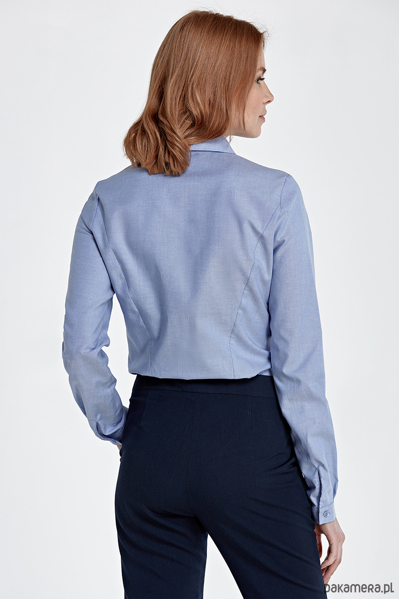 05c44415db2b1b Koszula z asymetrycznym kołnierzem k51-niebieski - bluzki - koszule ...
