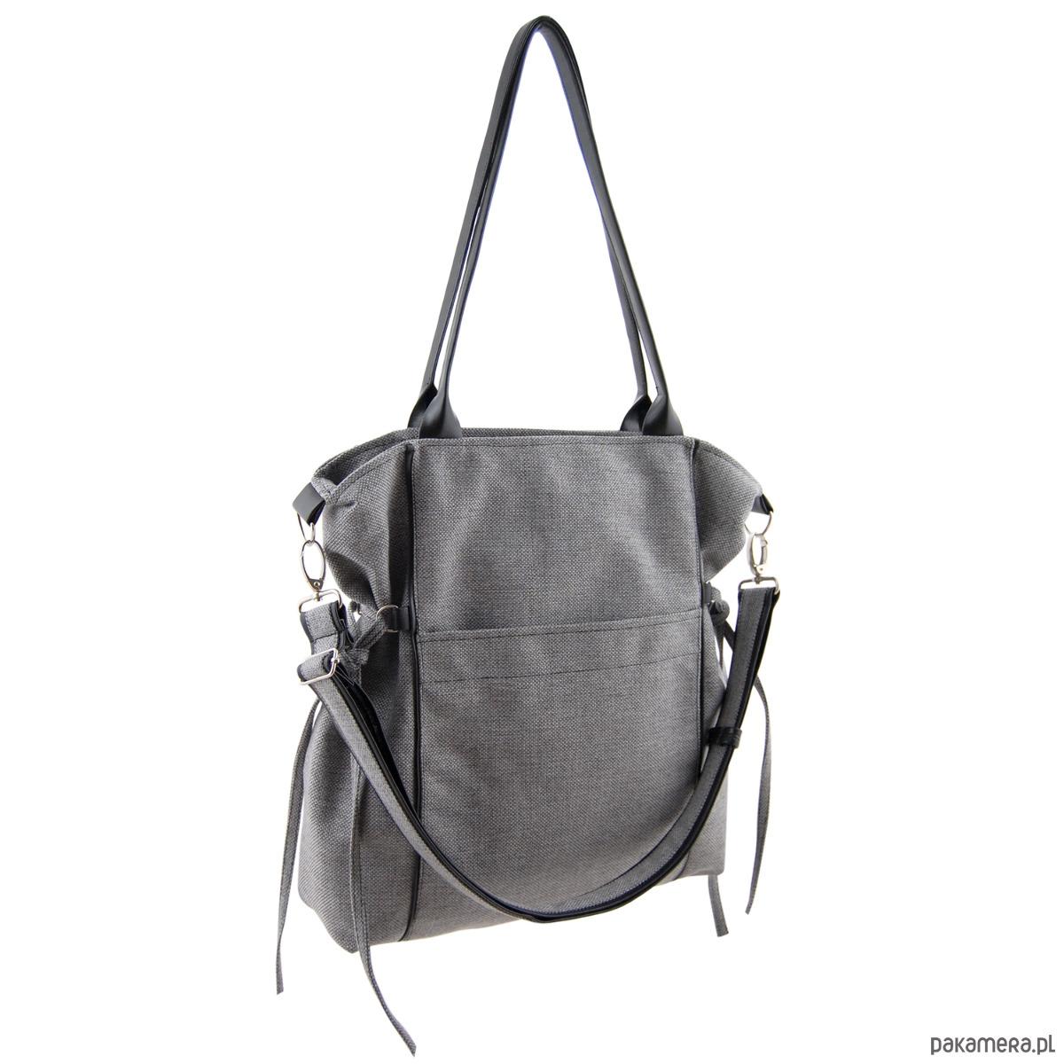 e485d1c758581 AMBER - duża torba - shopper - szara plecionka - torby na ramię ...