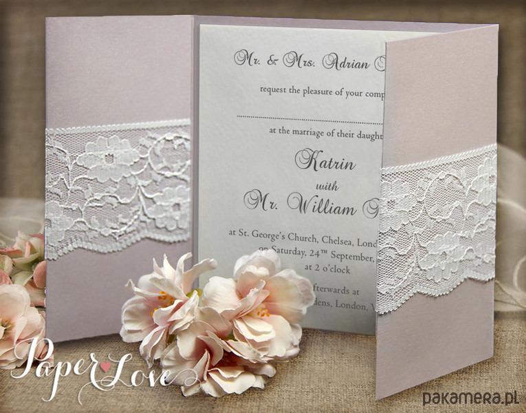 Zaproszenia ślubne Koronka Ze Wstążką ślub Zaproszenia Kartki